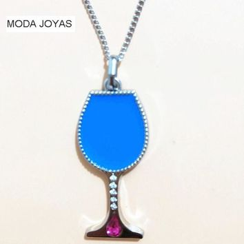 fashion jewelry Stainless steel Women's Wine Glass Necklace Pendant Stainless Steel crystal Goblet Pendant for women men