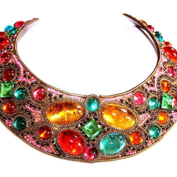 M&J HANSEN DESIGN 1987 Signed RARE Handmade Crystal Rhinestone Necklace