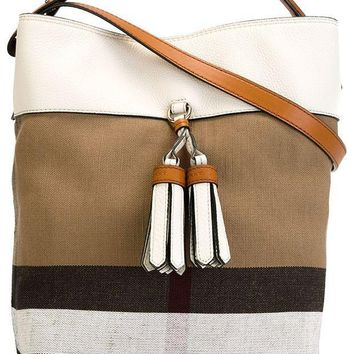 CREYIX5 BURBERRY Susanna Beige White Plaid Check Canvas Leather Tote Bucket Bag Handbag
