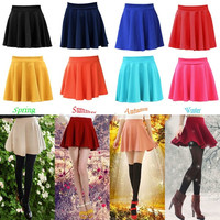 one size New Fashion Women Candy Color Stretch Waist Plain Skater dress Flared Pleated Mini Skirts 17 Colors = 1945847364