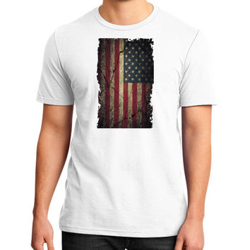 American Flag Ripped Grunge District T-Shirt (on man)