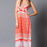 Coral printed chiffon maxi dress