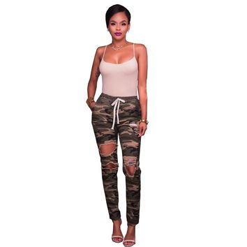 2017 Women Knee Hole Ripped Jeans Chic Camo Army Green Skinny Jeans Ladies Femme Stretch Camouflage Cropped Pencil Denim Pants