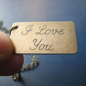 I love you necklace cursive love letter by friendlygesture