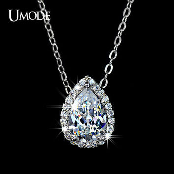 UMODE Water Drop Design Pear cut Top Quality AAA+ Cubic Zircon Pendant Necklace UN0021