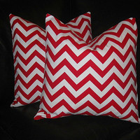 """Decorative Pillow Covers 20 inch CHEVRON Pillows lipstick red and white 20"""" contemporary Accent Pillows"""