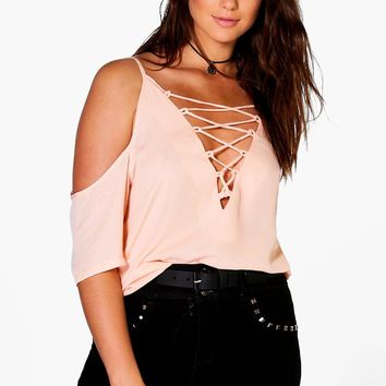 Plus Jennie Lace Up Open Shoulder Blouse | Boohoo