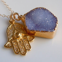 Druzy Jewelry : Hamsa Necklace