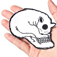 Cat Skull Embroidered Patch & Enamel Pin