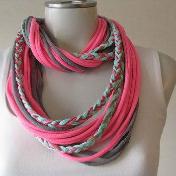 Gray and Pink Tshirt Scarf with Braid, Infinity String Scarf, T-shirt Necklace