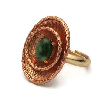 Hallmarked CG 14 KGF Ring - Copper 14K Gold Filled Faux Jade Ring Size 6 to Size 7 Adjustable Band - Rose Gold or Copper Statement Jewelry