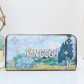 DCCKXT7 Louis Vuitton' Women Clutch Purse Fashion Oil Painting Letter Pattern Print Long Section Zip Wallet