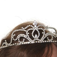Vintage Rhinestones Tiara Wedding Bridal Accessories Silver Tone Veil Decorations Queen Princess Corona Quinceanera- Silver Tone
