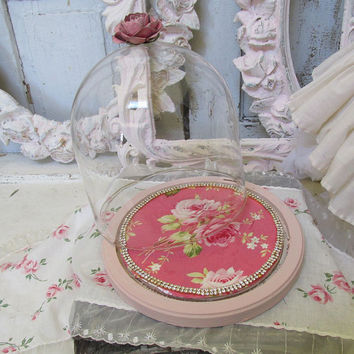 Romantic vintage glass dome w/ base shabby cottage chic display cloche pink rose w/ rhinestone trim showcase home decor anita spero design