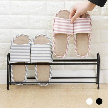 2 Tiers Metal Shoes Rack Storage Organizer Stand Shelf Holder Dormitory Bed Bottom Bed Slippers Shoes Shelf Home Furniture