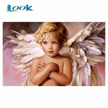 picture by numbers little angel abstract on canvas figure painting paint by numbers painting Digital wall art home decoration