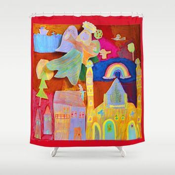 Rainbow Angel Shower Curtain by Azima