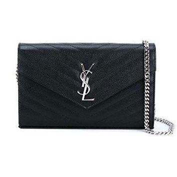 Saint Laurent Women's 377828BOW021000 Black Leather Clutch