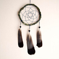 Dream Catcher - Dark Nature - With Black and White Pigeon Feathers and Green Frame - Nursery Mobile, Boho Home Decor, Decoration