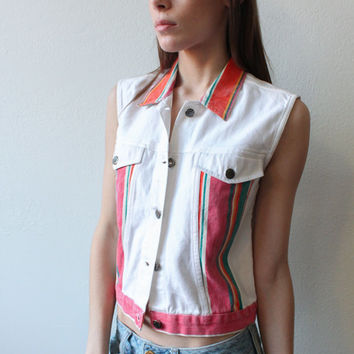 Denim Vest 90s // Vintage Grunge Top Jean Vest White Color Block Striped Pink - Medium