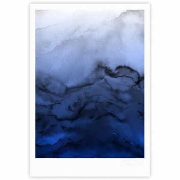 "Ebi Emporium ""Winter Waves 3"" Blue Black Fine Art Gallery Print"