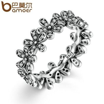 BAMOER 2017 New Arrival Cheap Silver Color Popular Flower Finger Ring Fashion Wedding Jewelry 3 Size PA7220