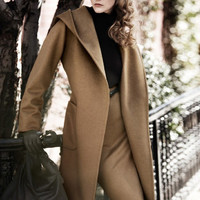 Open Front Belted Hooded Trench Coat