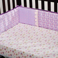 KidsLine  Flutter Bug Embroidered Baby Girl Crib Bumper Set