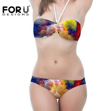 Swimwear Bandeau Triangle Padded Swimsuit Bra 2 pieces Push Up Bikini Set Women