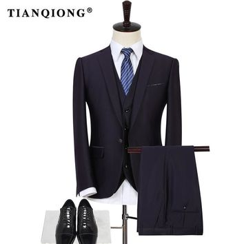 TIAN QIONG Purple Business Men Suits