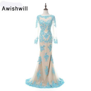 Fashion Long Sleeve Evening Party Dress Appliques Mermaid Prom Dresses Long Chic Fomral Gowns Custom Made Vestido de Formatura