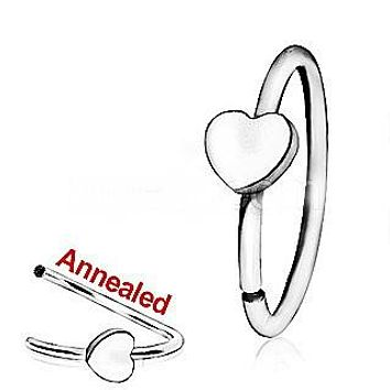 316L Surgical Steel Annealed Heart Nose Hoop