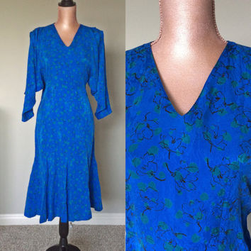 Vintage Nora Noh Silk Dress 80s Floral Dress Mid Calf Batwing Slip On Dress