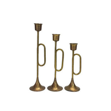 Brass Trumpet Candle Holder Set Vintage Bugle Horn Tulip Graduated Candlestick Holiday Christmas Home Decor