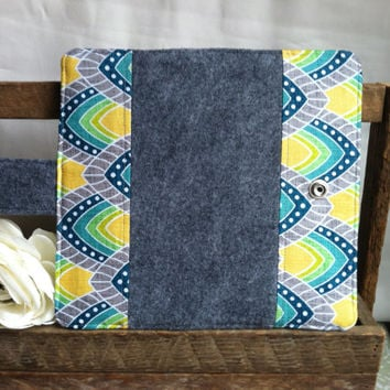 Soft felt and abstract printed wallet in Grey, yellow and greens with coin pouch, bill slots, card slots