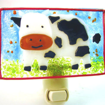Cow Night Light - Fused Glass Lighting