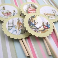 Popular Rabbit Cupcake Toppers for Story Tale Birthday Baby Shower