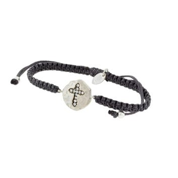 Sterling Silver CROSS CZ Adjustable Cord Bracelet