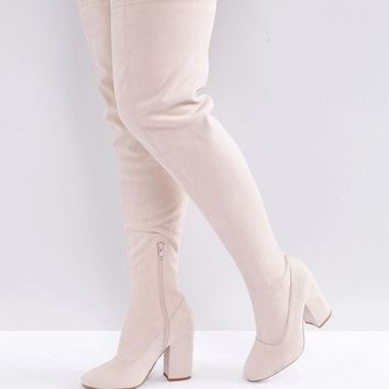 ASOS KATCHER Wide Fit Heeled Over The Knee Boots at asos.com