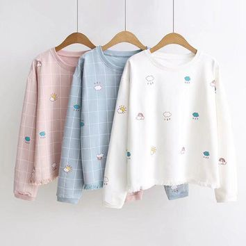 New Women Hoodies Kawaii Harajuku Plaid Printed Preppy Style Sweet Design Girls Cotton Sweatshirt Antumn Bottoming Pullover