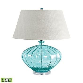 210-LED Recycled Fluted Glass Urn LED Table Lamp In Blue