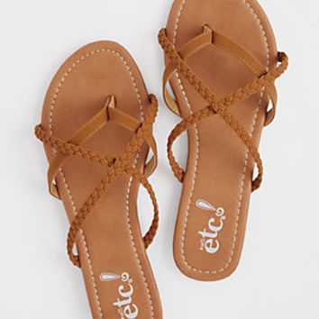 Cognac Braided Strappy Flip Flops