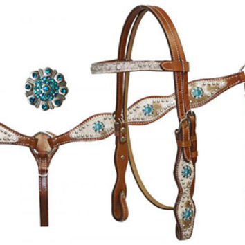 Saddles Tack Horse Supplies - ChickSaddlery.com Turquoise Accented Headstall, Breast Collar and Reins Set