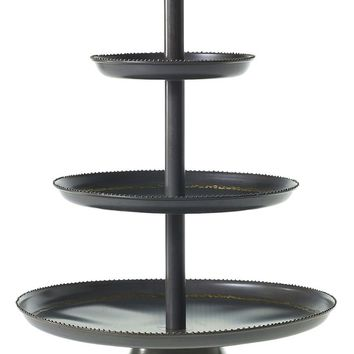 """3-Tier Metal Mabel Cupcake Stand in Dark Charcoal with Gold Studded Edges - 22"""" Tall x 15.75"""" Wide"""