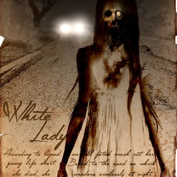 The white lady, hitchiker ghost cryptid art, urban legend bestiary horror science journal art, monsters and folklore,