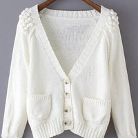 White V Neck Twisted Ball Pockets Knit Long Sleeve Sweater