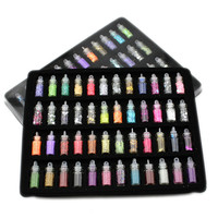 48 bottles nail art charms kit contain random nail art pearl/sequin/glitter powder/acrylic/rhinestone and so on