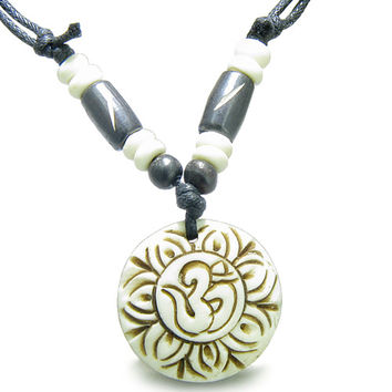 Amulet Original Tibetan Magic OM Symbol Lotus Flower Carved  Pendant Necklace