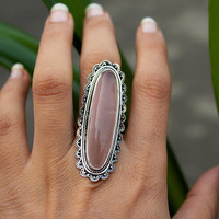 Rose Quartz Ring, Rose Quartz Sterling Silver Ring, Boho Ring, Healing Crystal, Bohemian, Long Ring, Bohemian Ring, Gypsy Ring