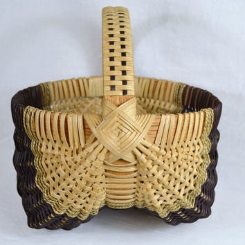 Traditional Egg Gathering Basket Handwoven with Detailed Handle and God's Eye